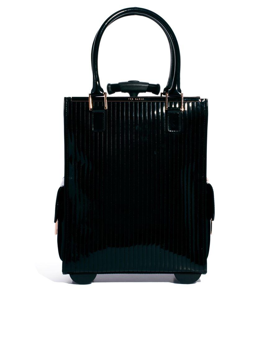 6aa2ca13abb7 Ted Baker Barley Black Quilted Enamel Trolley Bag Best Travel Bags