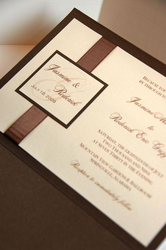 Bronze and Opal Pocket Wedding Invitation by SWAKinvitation, $6.50