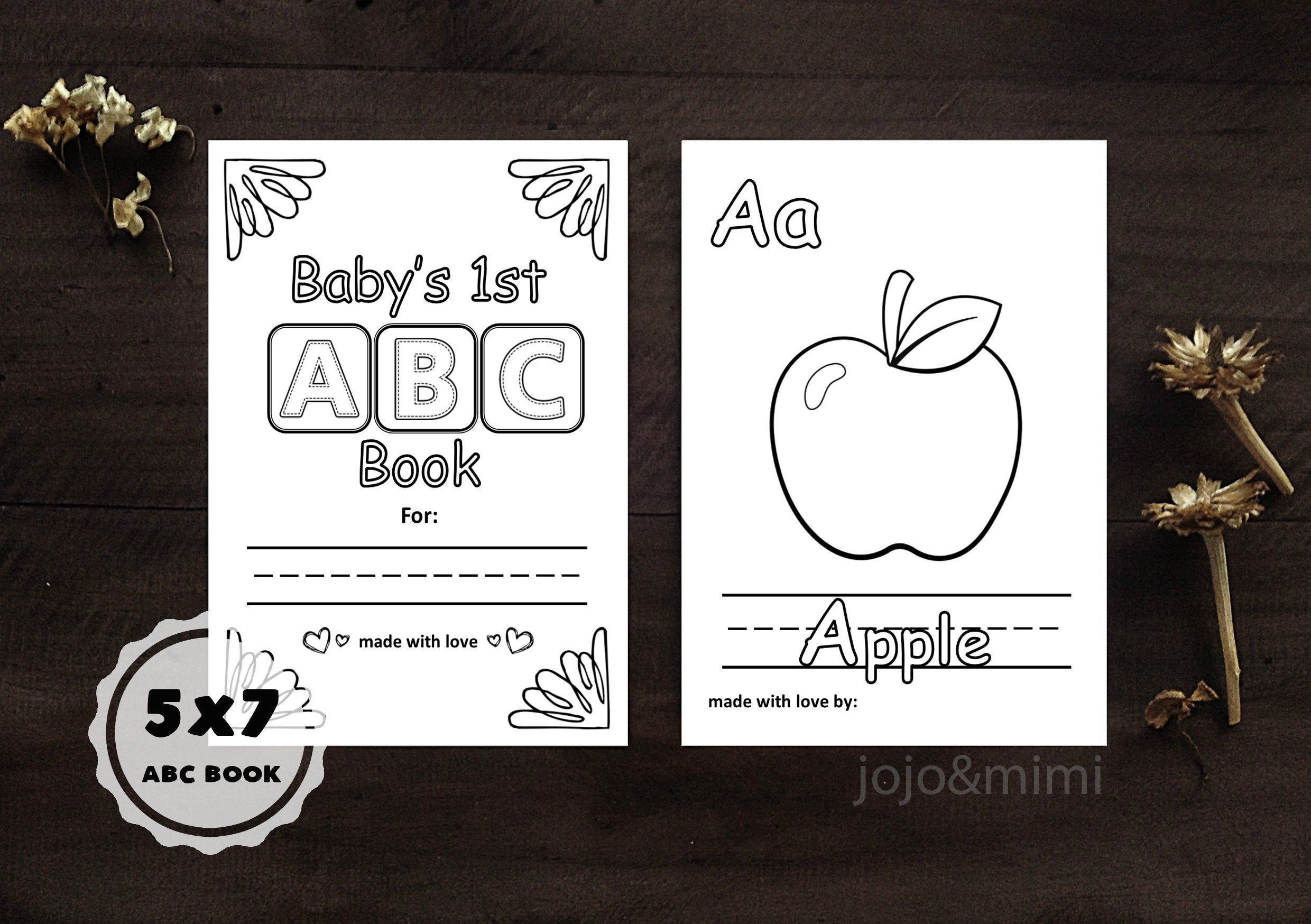 Abc Book Baby S First Alphabet Book Printable Coloring Sheets Alphabet With Pictures 5x7 Abc Book Baby Shower Game Baby Shower Book Alphabet Book Abc Book [ 1748 x 2480 Pixel ]