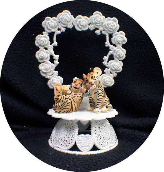 Tiger Lion Jungle Safari Wedding Cake Topper zoo Top Topical Outdoor Animal Romantic Heart Funny groom top