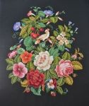 """""""Victorian fire screen with a parrot""""  Embroidery. Embroideress Veronika McKnight"""