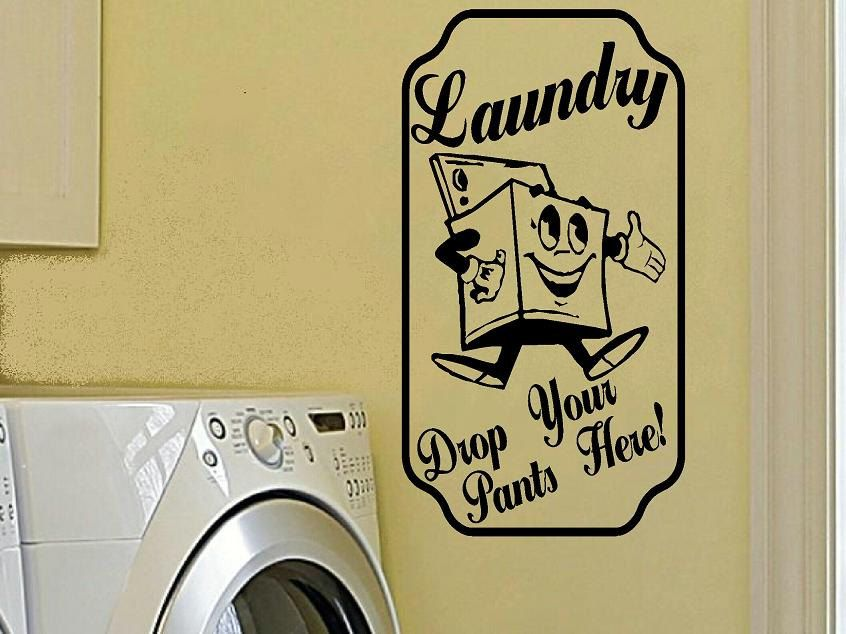 vintage decal wall decal Laundry drop your pants here laundry room ...
