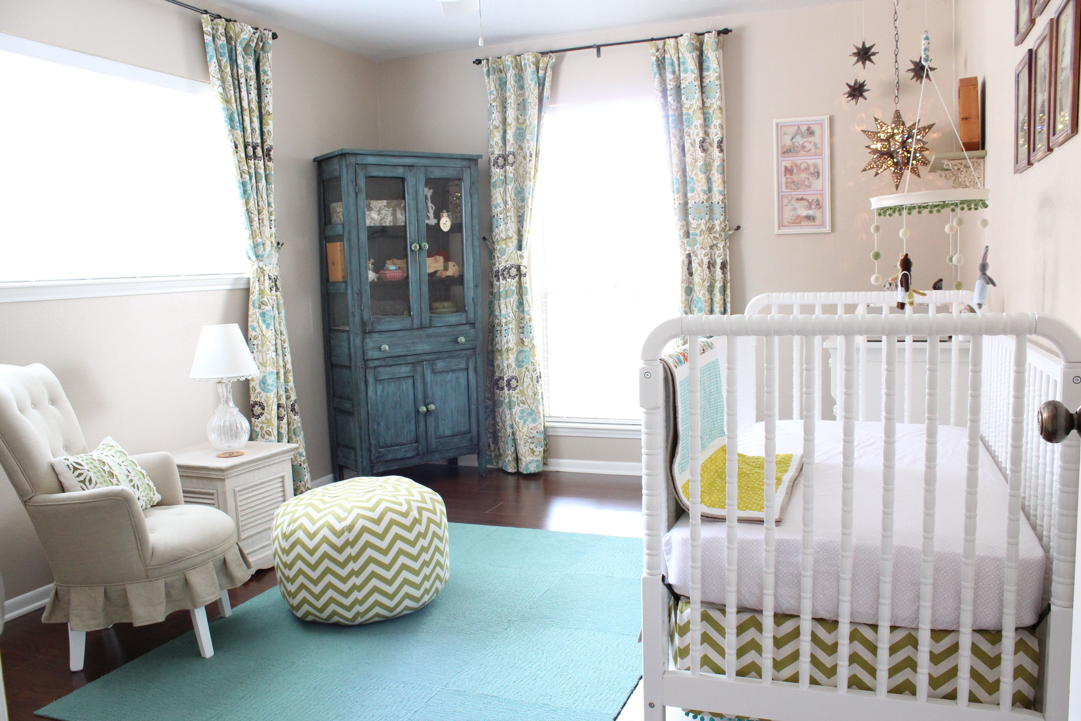 Nursery Done In Teal And Green With Fl Feminie Touches