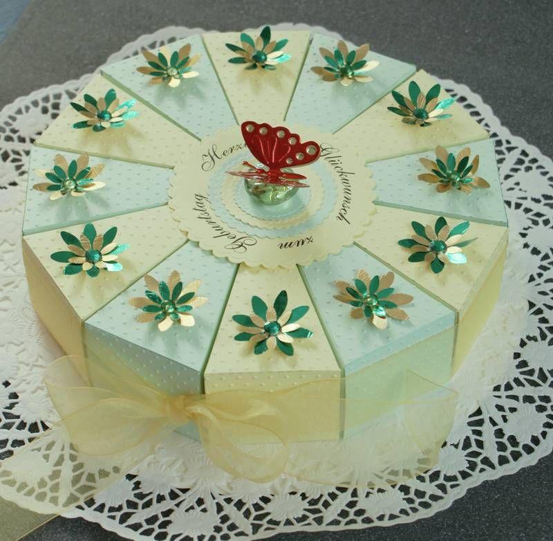 Torte aus pappe  basteln  Geschenke verpacken Geschenkverpackung basteln und Torten basteln