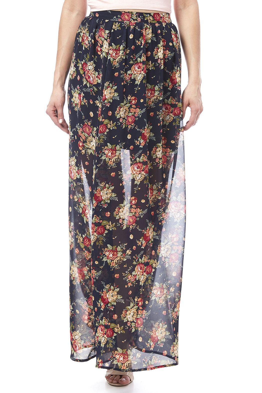 Ya Los Angeles Navy Floral Skirt | Sheer fabrics, Mini skirts and ...