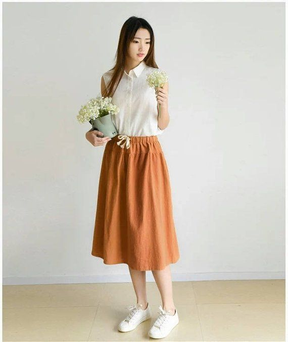 2d73cb049d00ee Linen skirt,Boho Skirt, Long Skirt, Skirt with Pockets, Womens Skirts