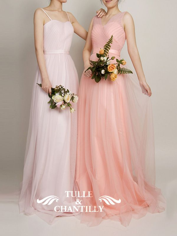 e4ef5824eb6e Hot V-Neckline Flowy Pleated Long Tulle Bridesmaid Dresses TBQP309 ...