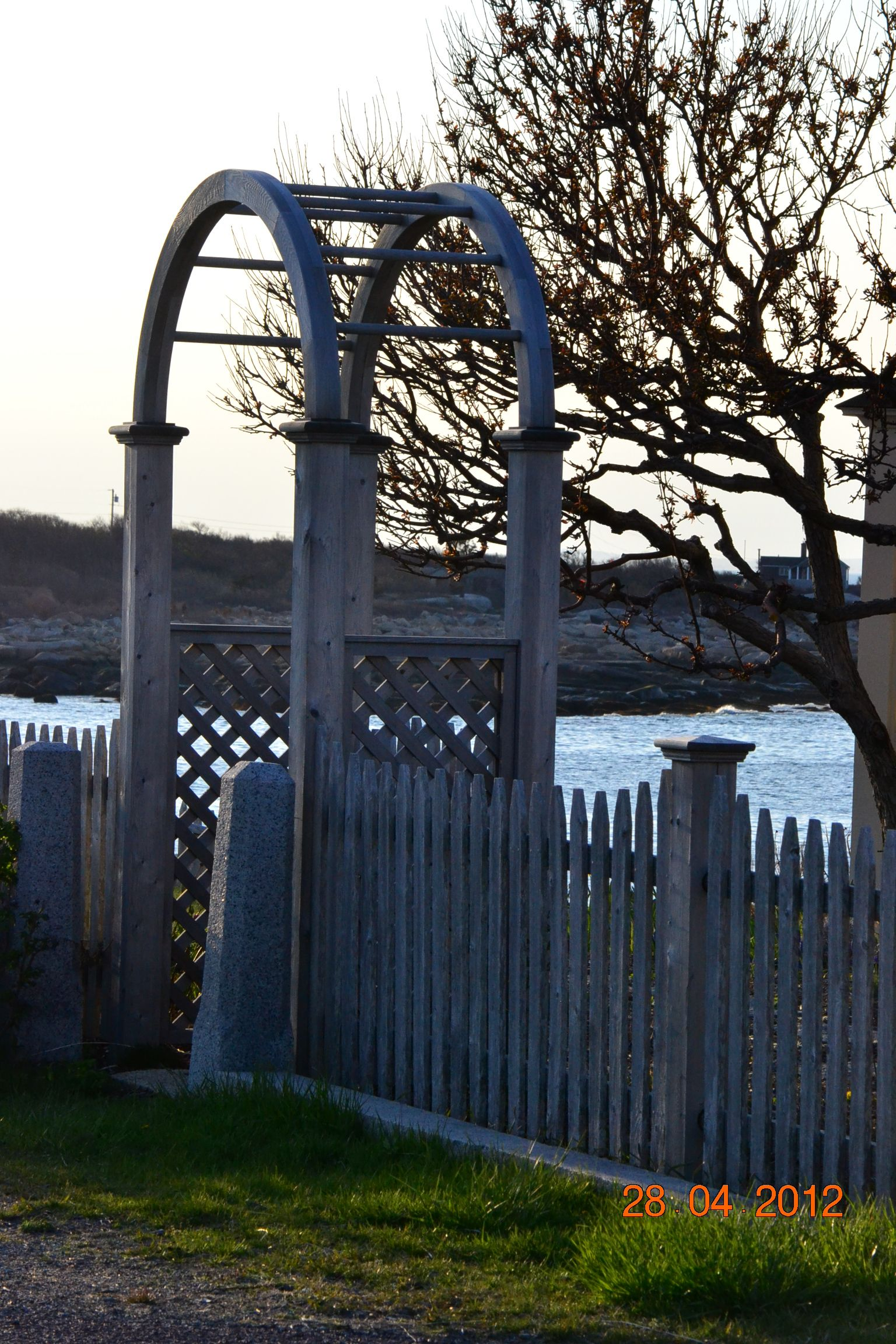 Rose Arbor with Halibut Point in the background