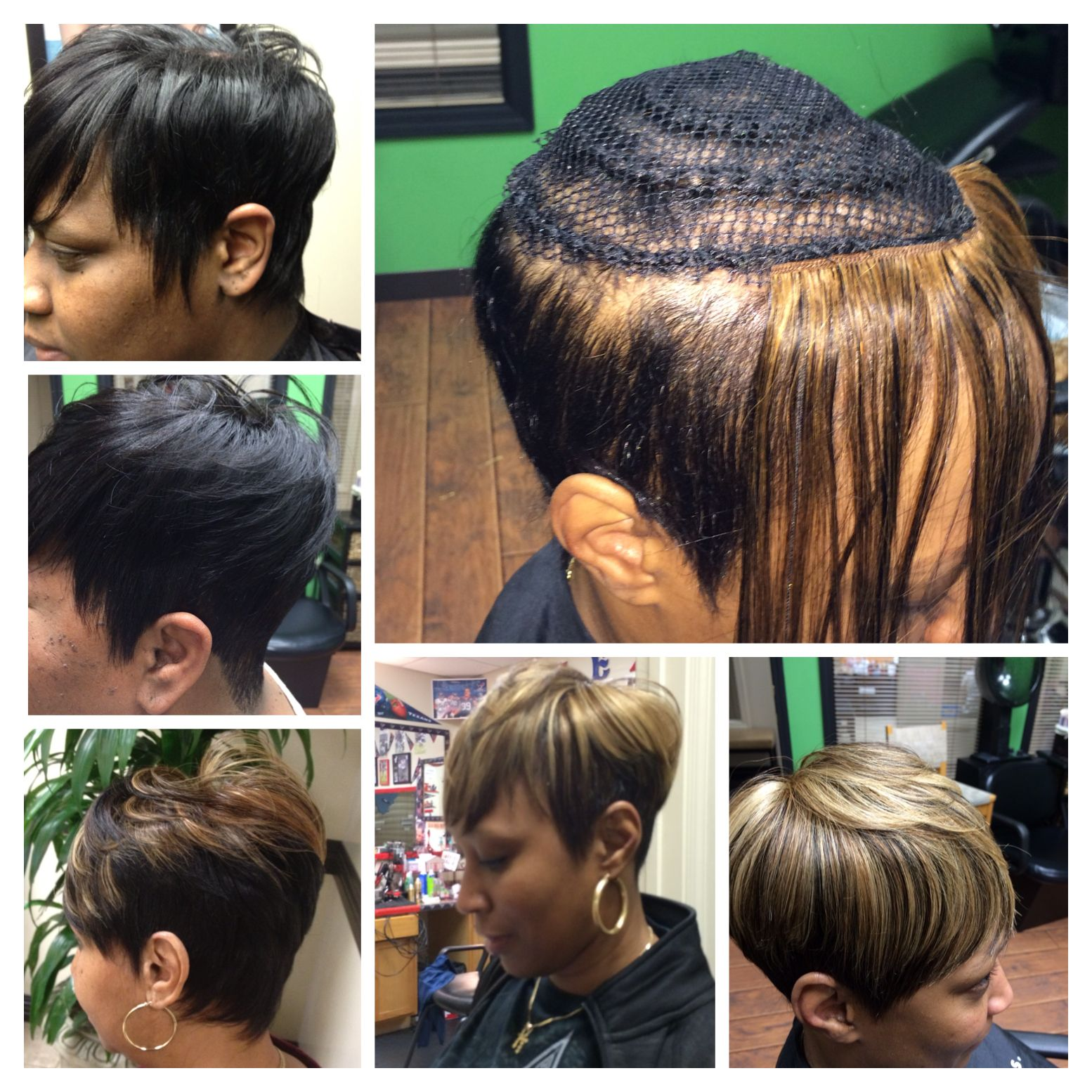 shorthair inspired by summer. short crop sew-ins, no glue used in