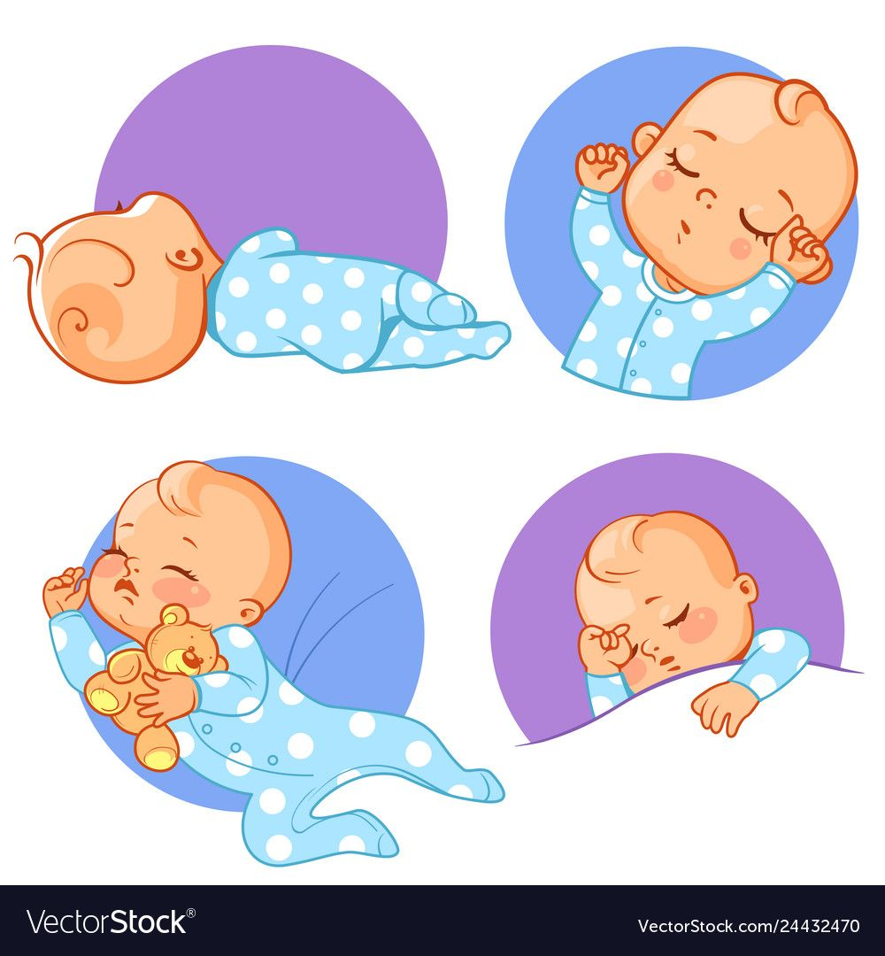 Baby stickers set sleeping baby various poses vector image ...