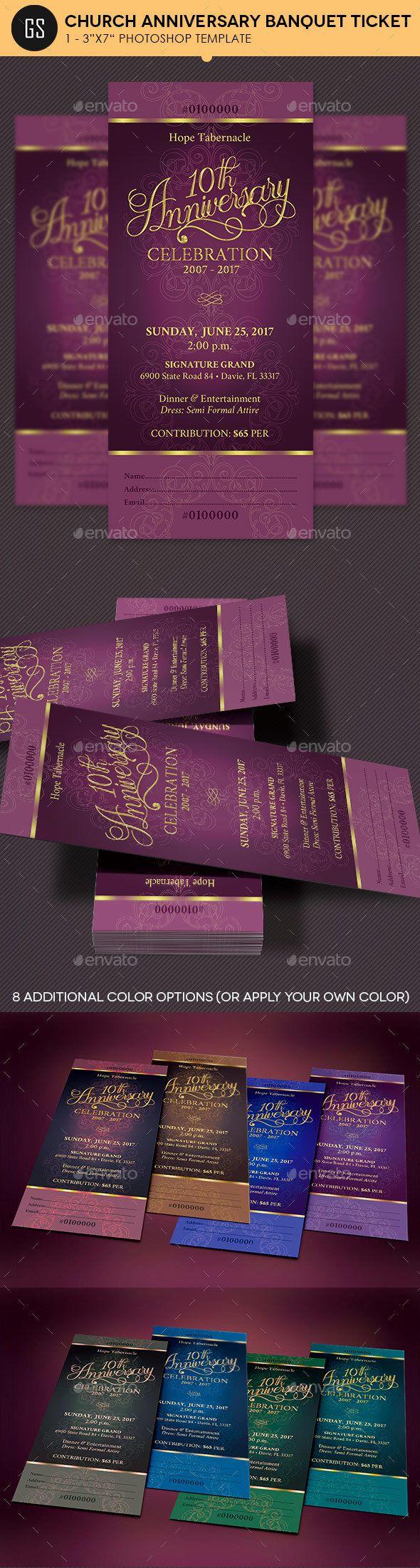 church anniversary banquet ticket miscellaneous print templates