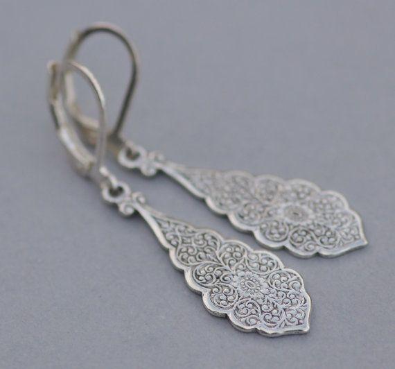 NUOVO argento Art Deco filigrana goccia di hangingbyathread1