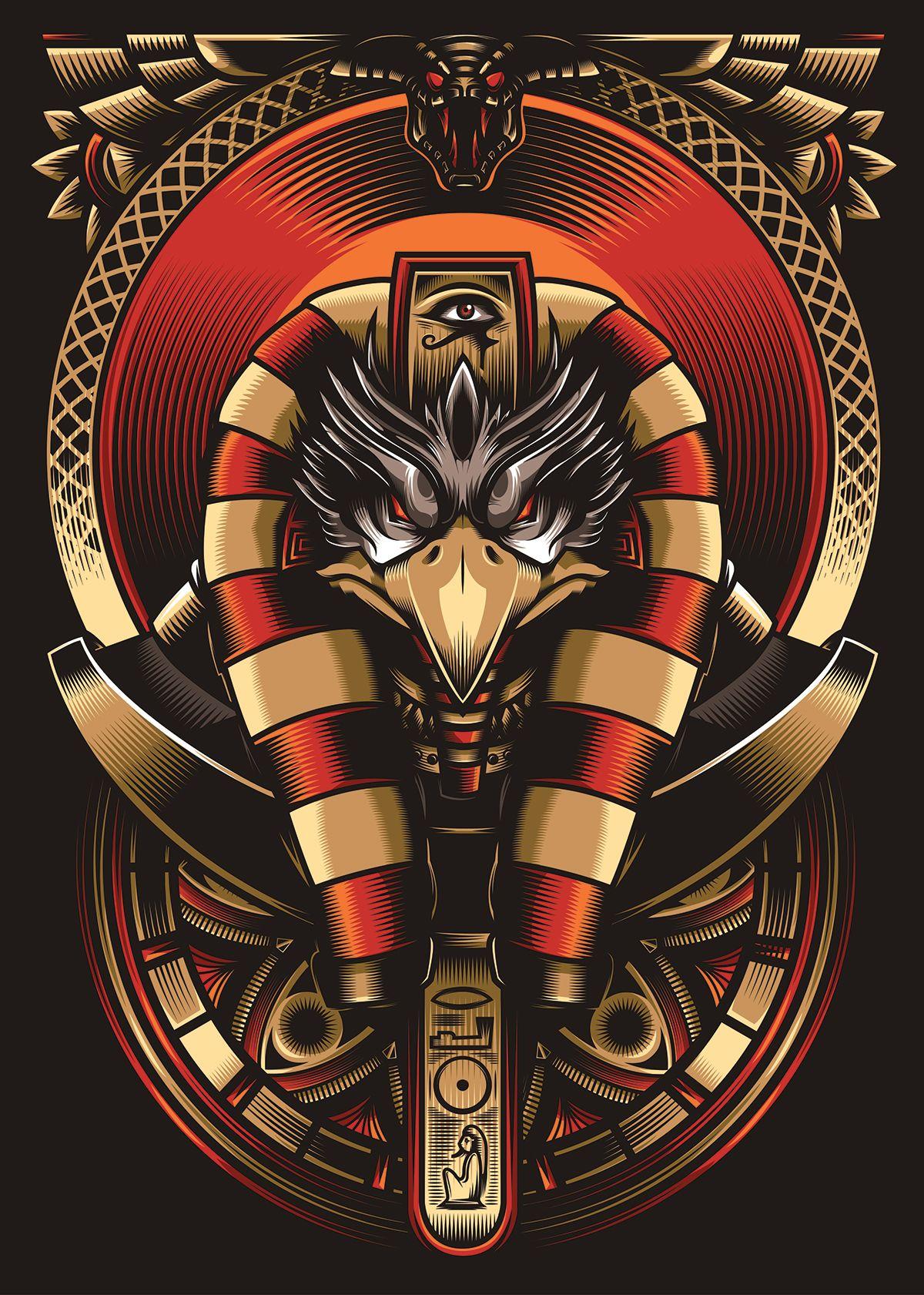 Egyptian God Ra Vector Illustration On Behance Ancient Egyptian Gods Egyptian Gods Ancient Egypt Gods