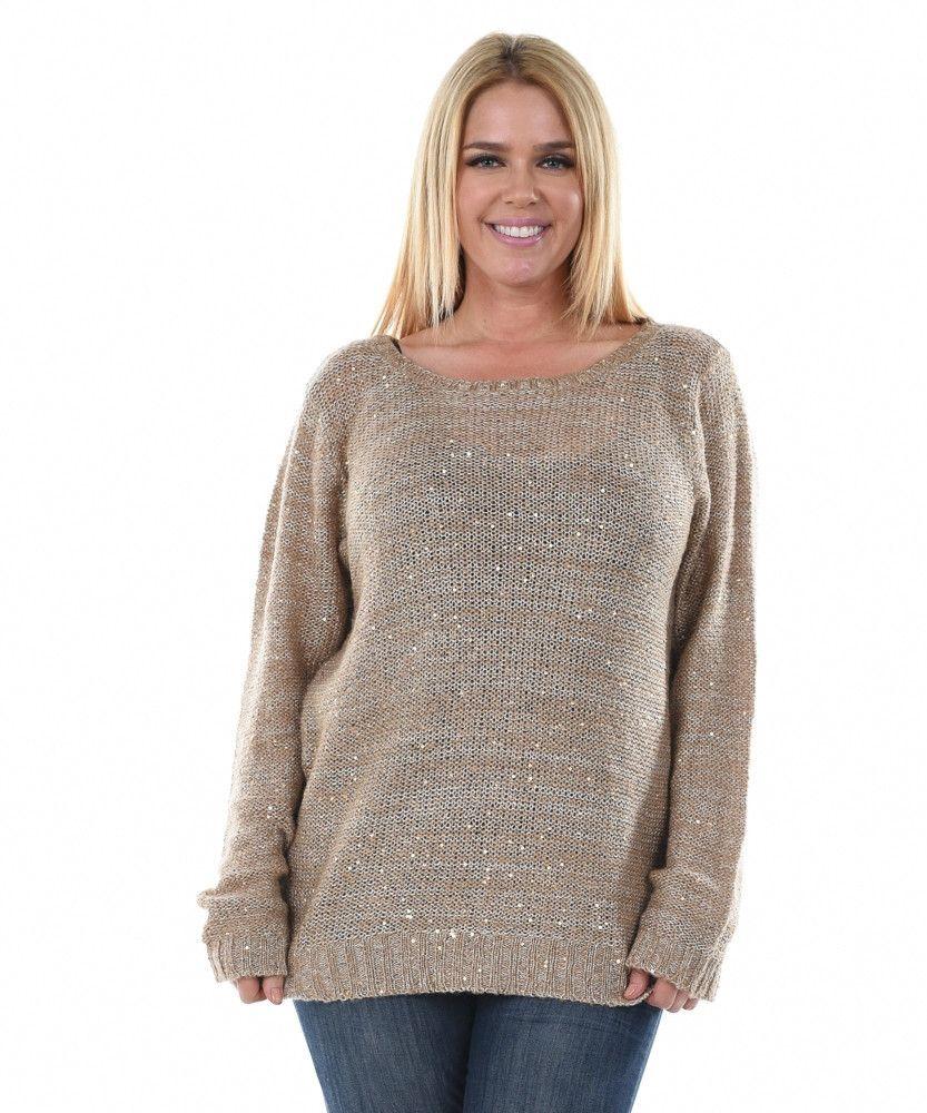4163382509d Plus Size Sequins Sweater