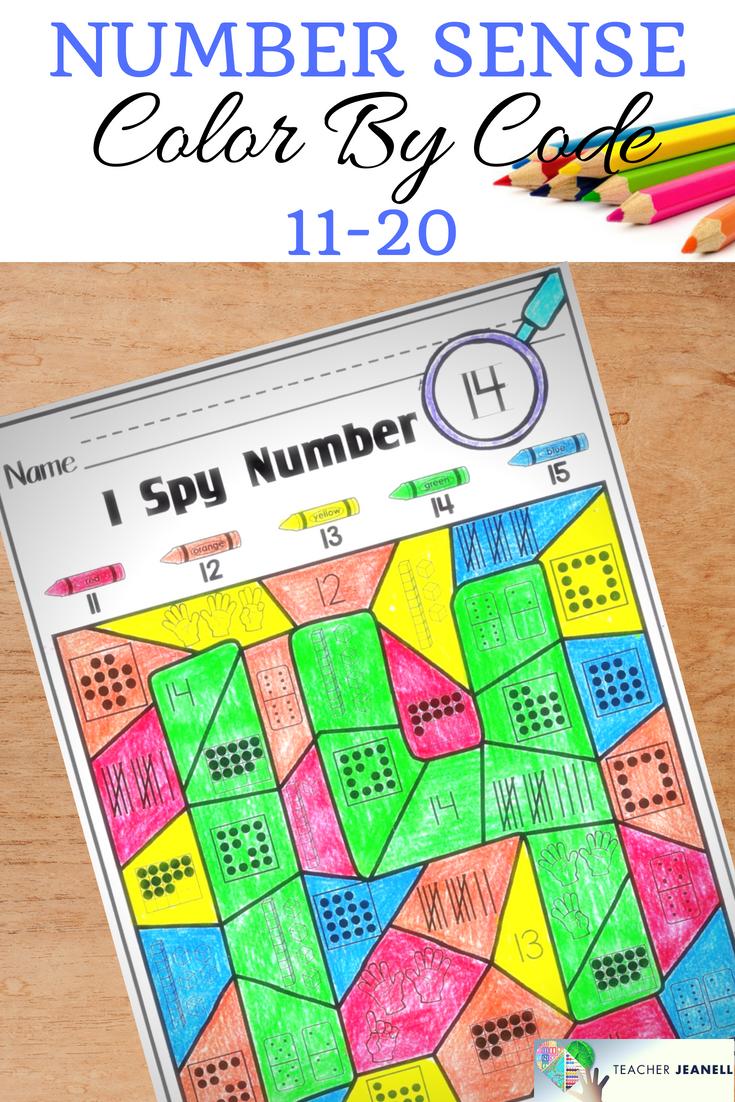 Color By Code Number Sense 11-20 | Number sense kindergarten ...