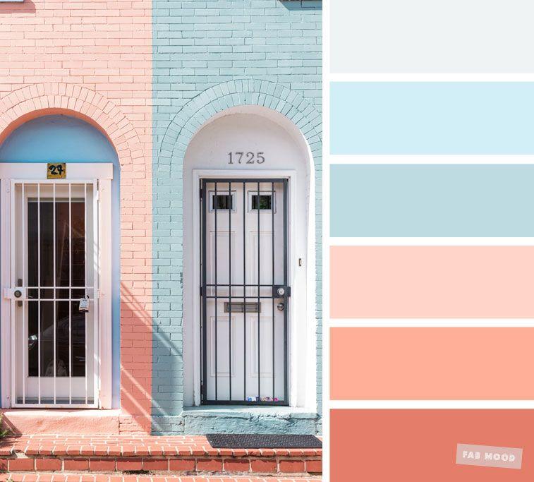 color inspiration light blue and peach color palette fab mood palette peach color palettes. Black Bedroom Furniture Sets. Home Design Ideas