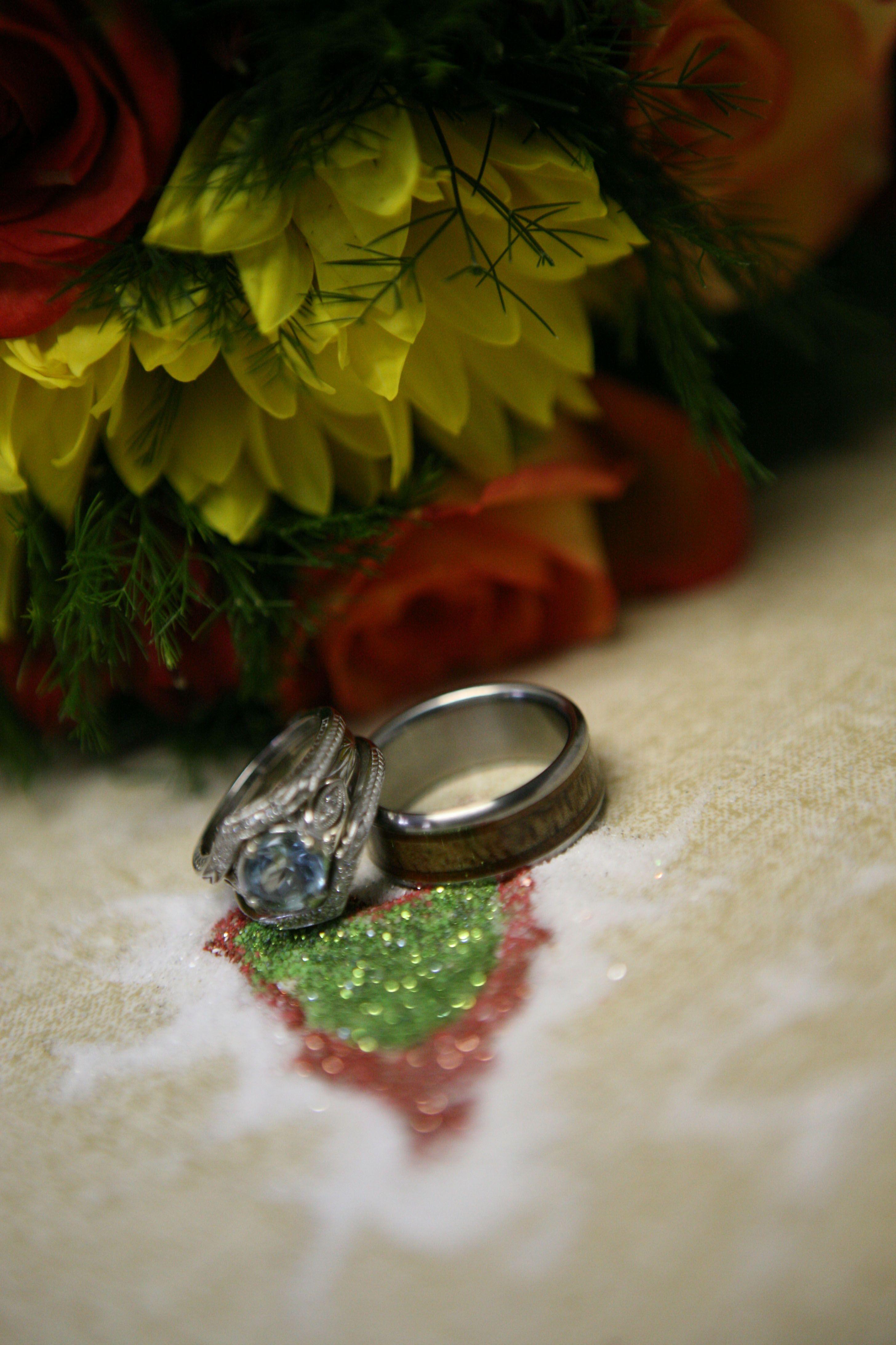 Mango and hawaiian koa wood wedding ring for the groom by hawaii