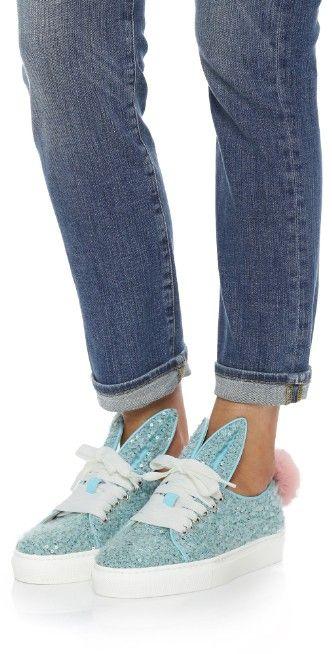 Minna Parikka Sequin Sneakers with Fur Tail   SHOPBOP