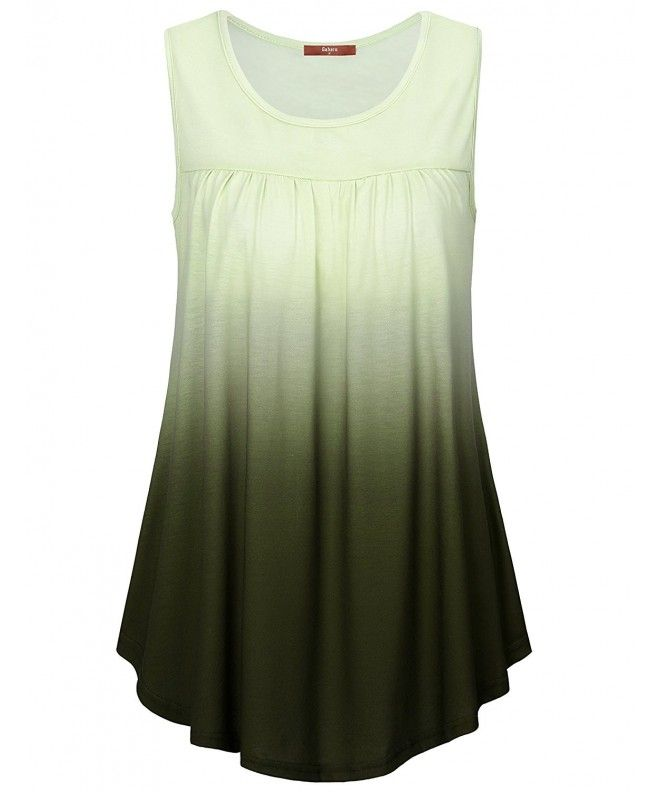 Women's Summer Sleeveless Shirts Scoop Neck Ombre Pleated Tunic Tank - Army Gree... 9