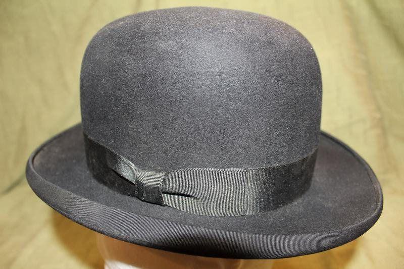 f4d3d80344a Vintage Dunlap Superior Men s Black Black Fur Felt Bowler Dress Hat ...