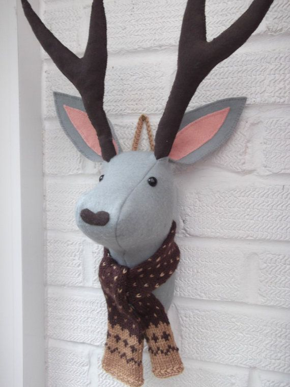 Fabric Trophy Head Mythical Jackalope Stag Style Wall Hanging