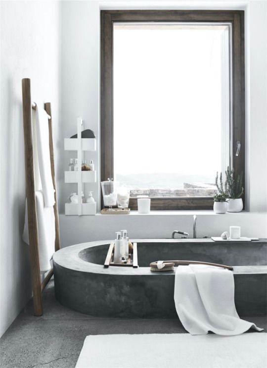 HD || Bathroom. Concrete bathtub