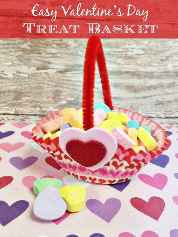 Give this easy and inexpensive Valentine's Day treat basket a try. Made from dollar store supplies, this sweet little basket is the perfect way to get into the spirit of the season for sweethearts! Here is how you can get started! :: Dollar Store Diy Valentines Day Treat Basket