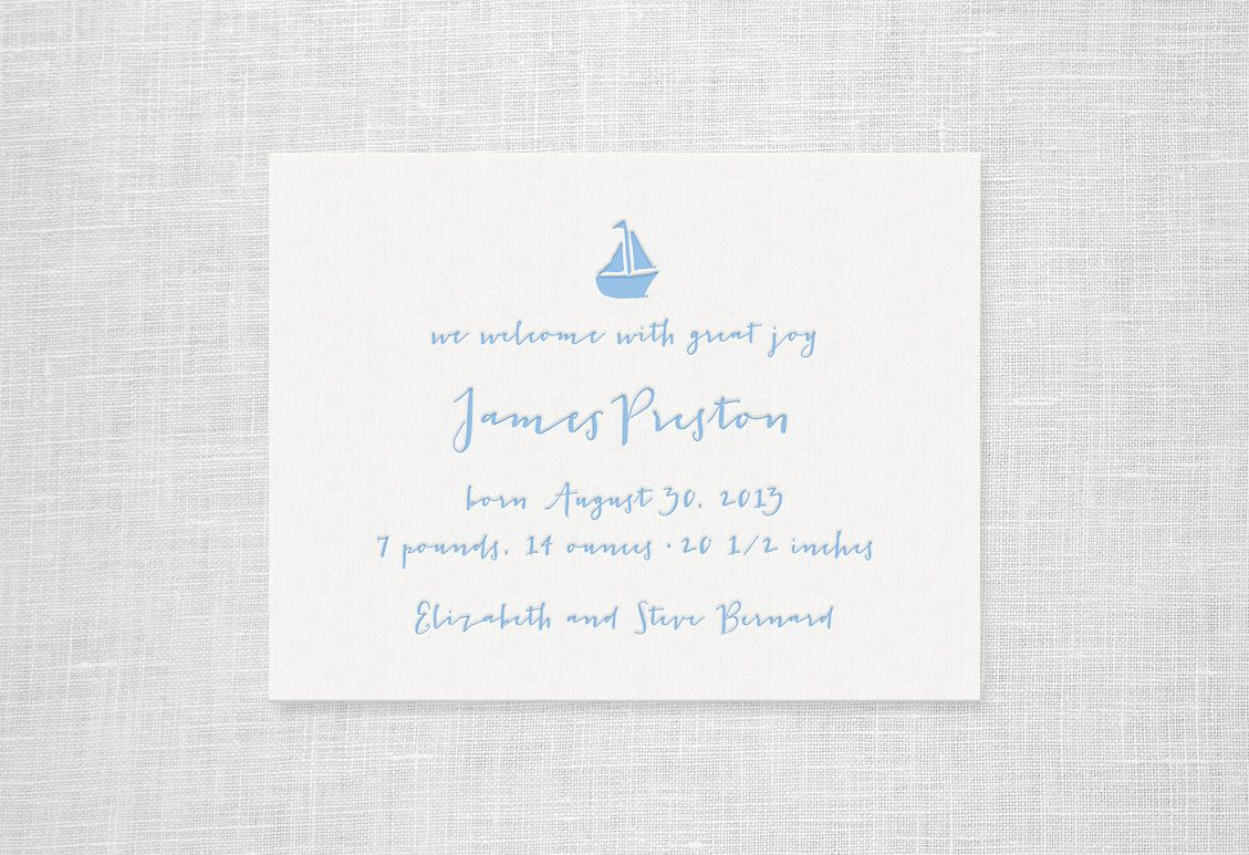Little Boat Announcement | Missive | Letterpress Stationery Birth ...