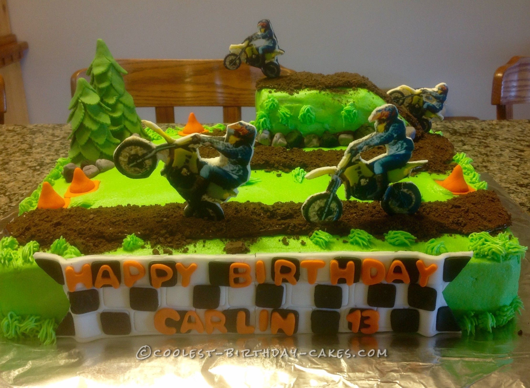 Lets Ride Dirt Bike Track Cake Dirt biking Birthday cakes and