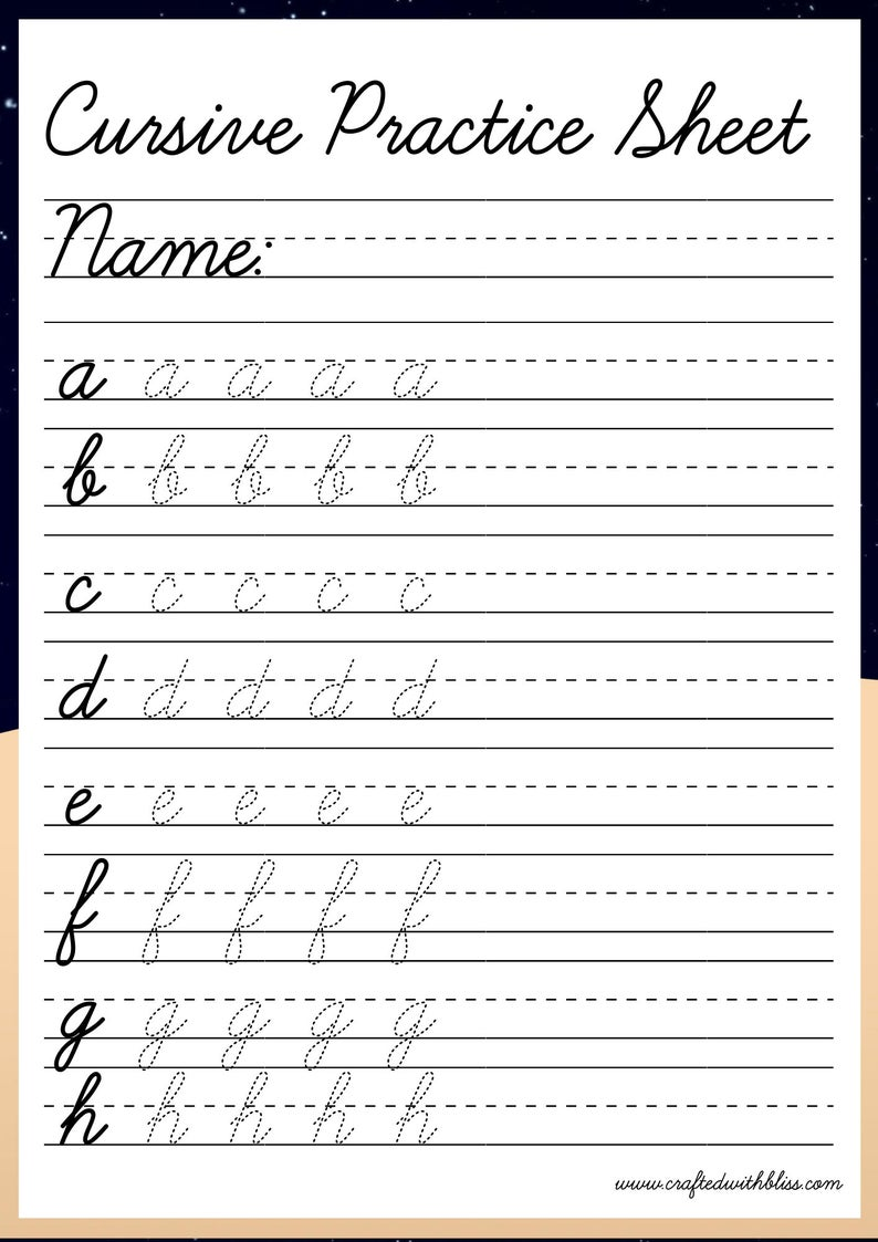 Cursive tracing worksheet Alphabet Cursive Printable Days of   Etsy in 2021    Cursive handwriting worksheets [ 1123 x 794 Pixel ]