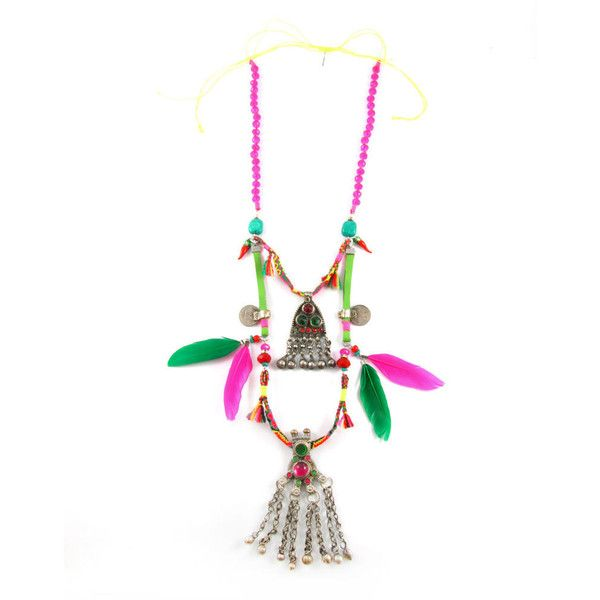 Sweetlime Emerald & Pink Feather Necklace (€340) ❤ liked on Polyvore featuring jewelry, necklaces, pink pendant necklace, emerald pendant, emerald pendant necklace, statement necklace and bead necklace