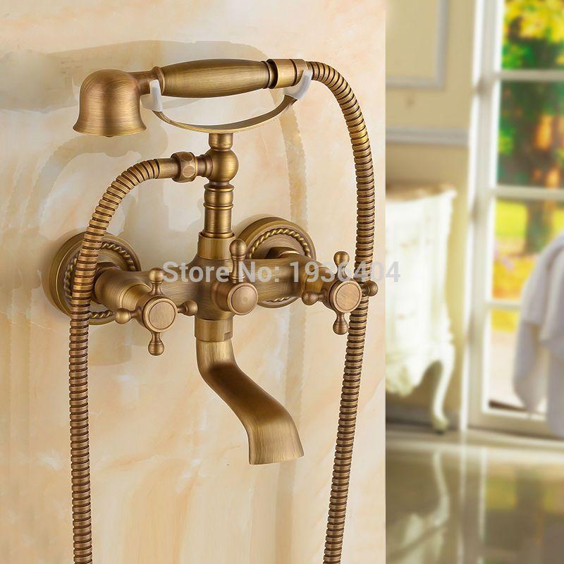 Luxury European Style Telephone Set Shower Faucet Antique Brass ...