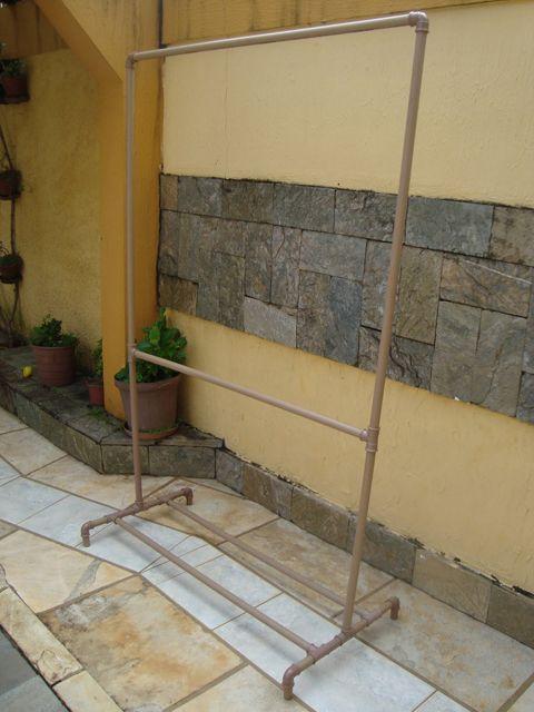 f7290ced5a Arara cabideiro de canos de ferro ou de PVC - Faça Você Mesmo ...