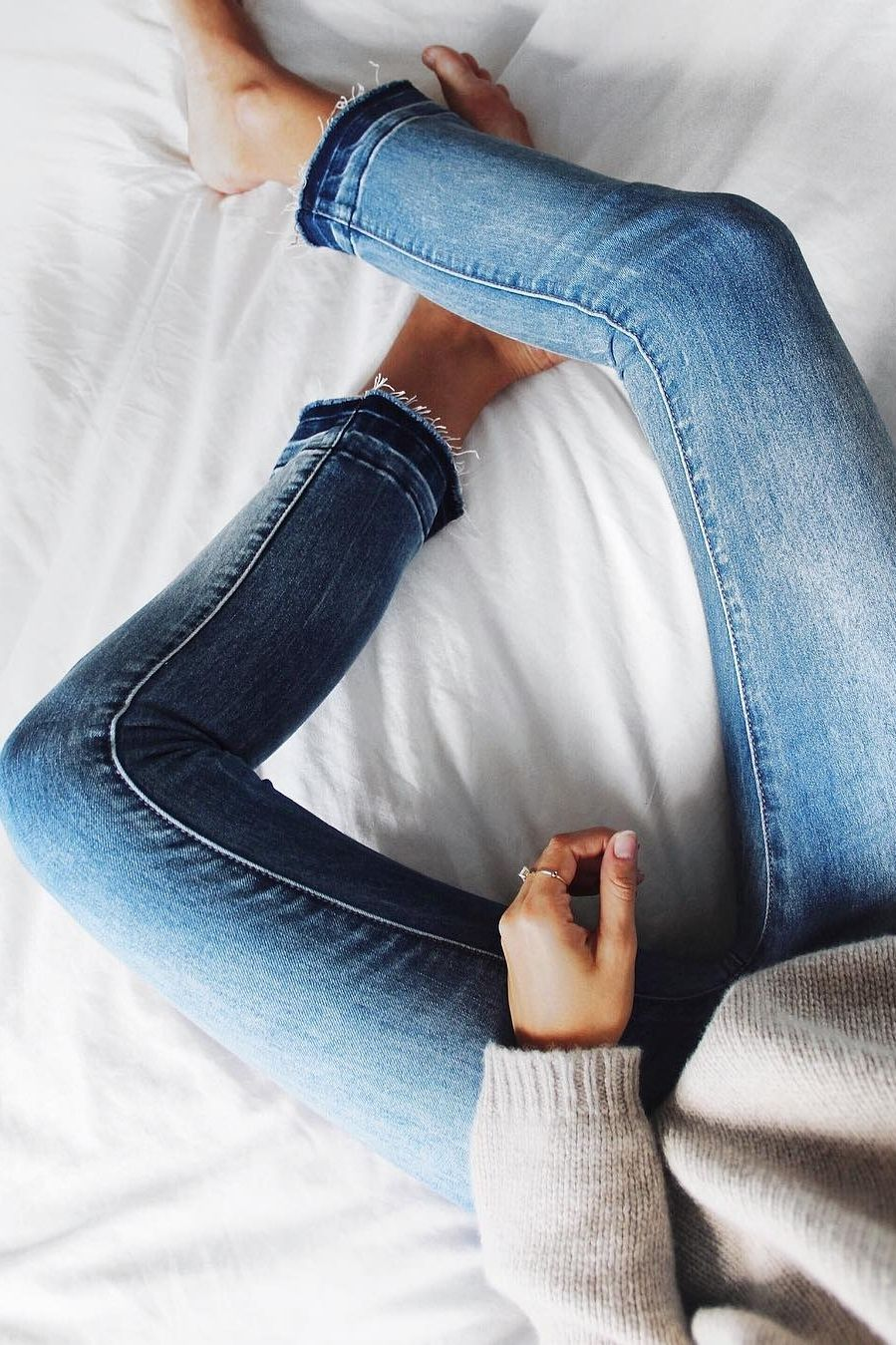 2edfe23513387 Frayed jeans and cozy sweaters.