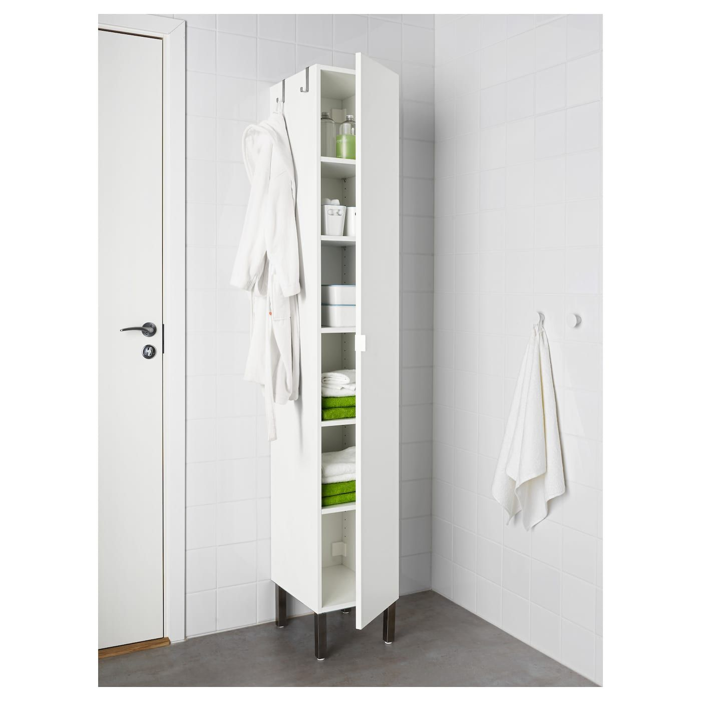Lillangen High Cabinet With 1 Door White Ikea Ikea Bathroom Storage Bathroom Tall Cabinet Ikea