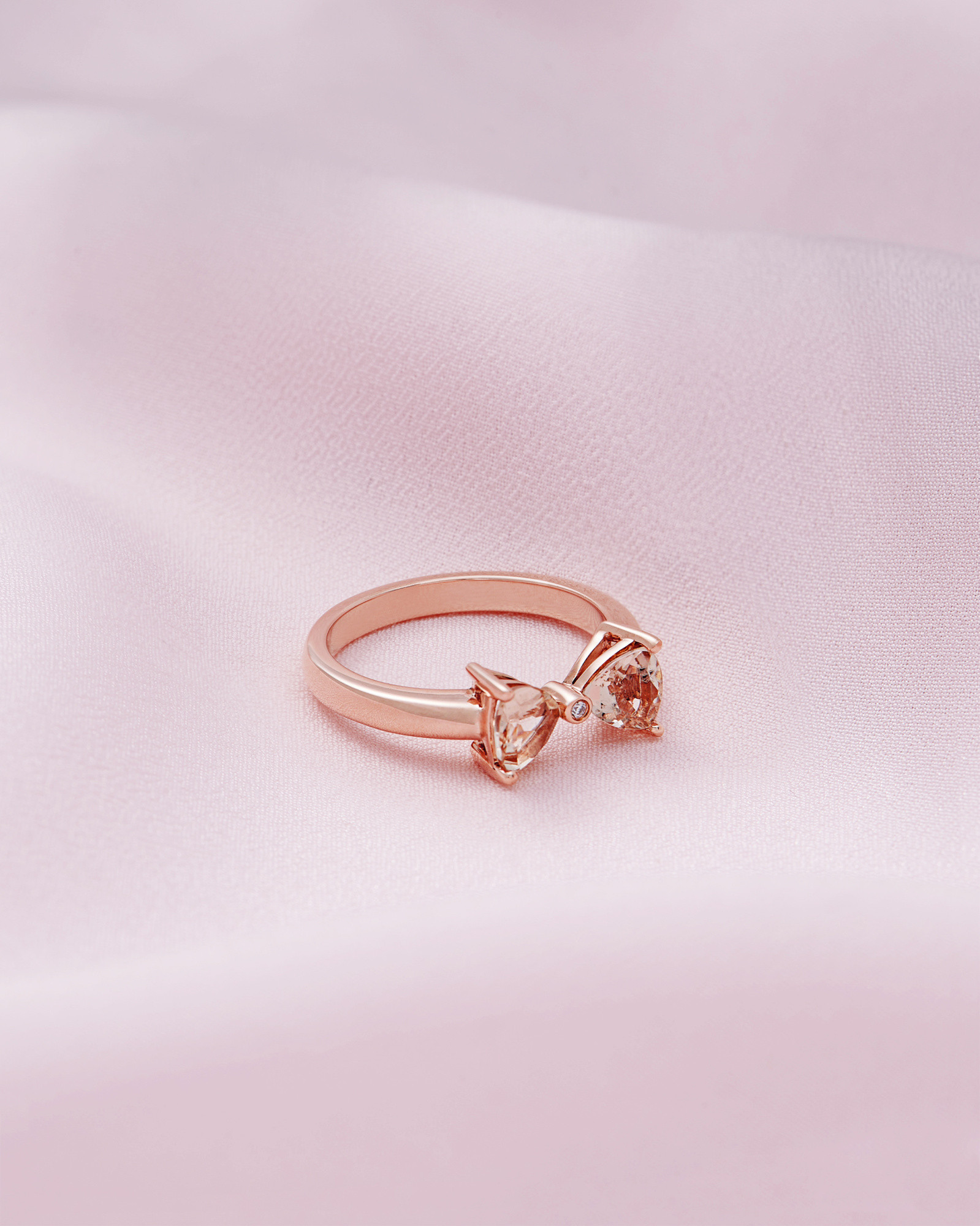 Ted Baker 9ct rose gold, morganite and diamond ring Clear