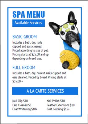 Dog Grooming Price List Templates Bundle 16 From Https Www