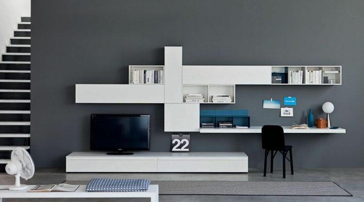 wohnwand mit schreibtisch als arbeitsplatz im wohnzimmer | king, Wohnzimmer dekoo