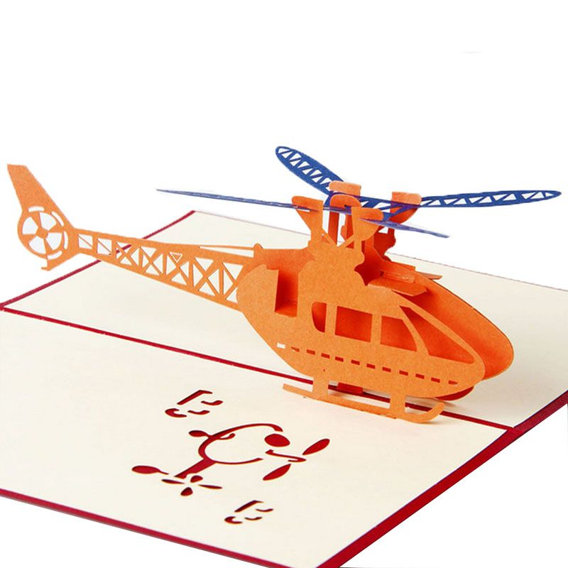 3D Pop Up Greeting Cards Helicopter Happy Birthday Christmas - easter greeting card template