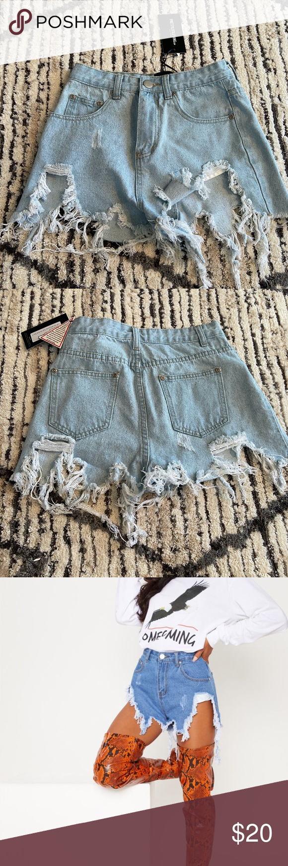 Light Blue Wash Ripped Denim Shorts High waisted shorts. Brand new  UK Size 6 US Size 2 PrettyLittleThing Shorts Jean Shorts #lightblueshorts