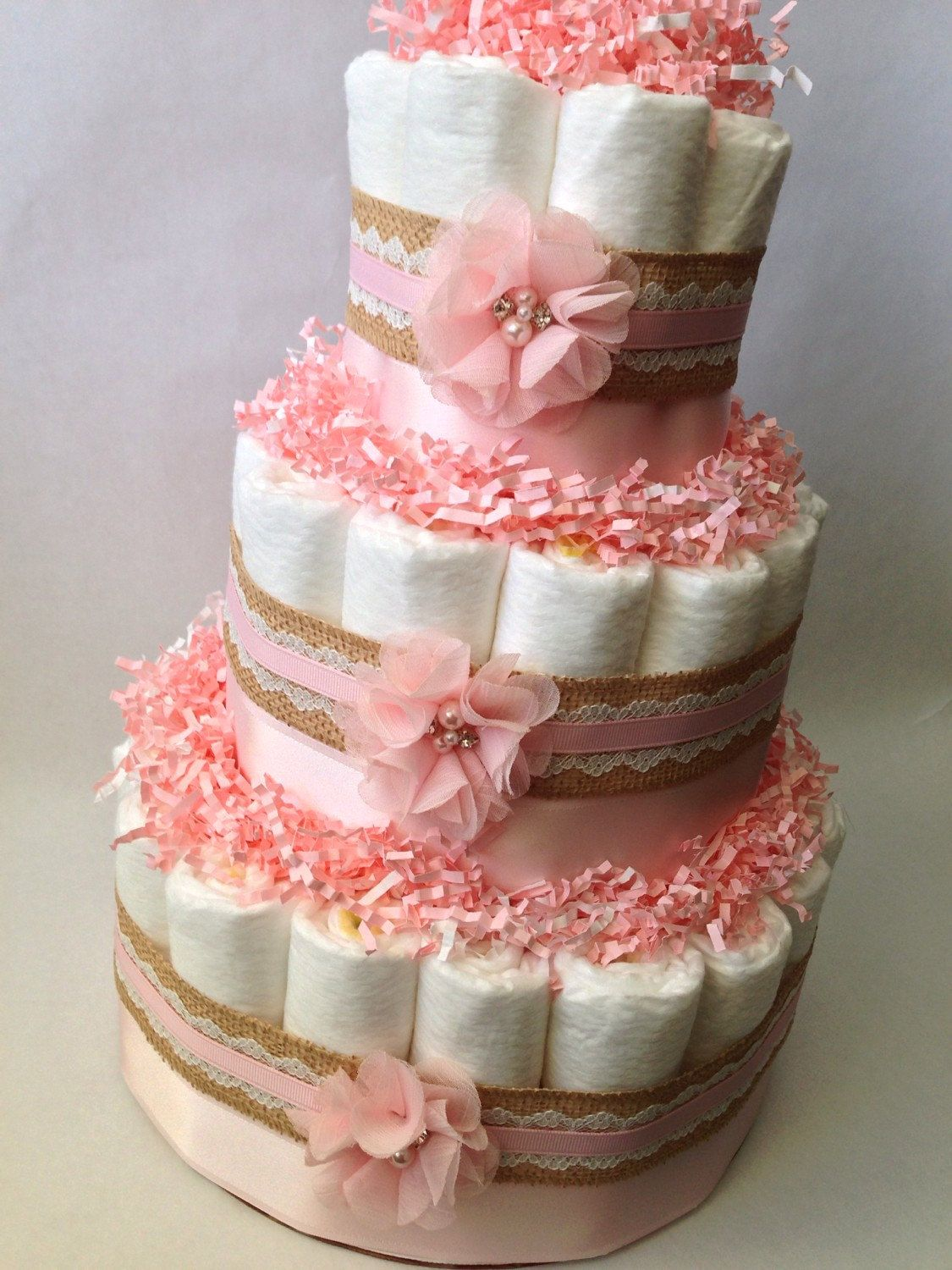 Burlap and Lace Pink Diaper Cake for Baby Girl, Baby Shower ...