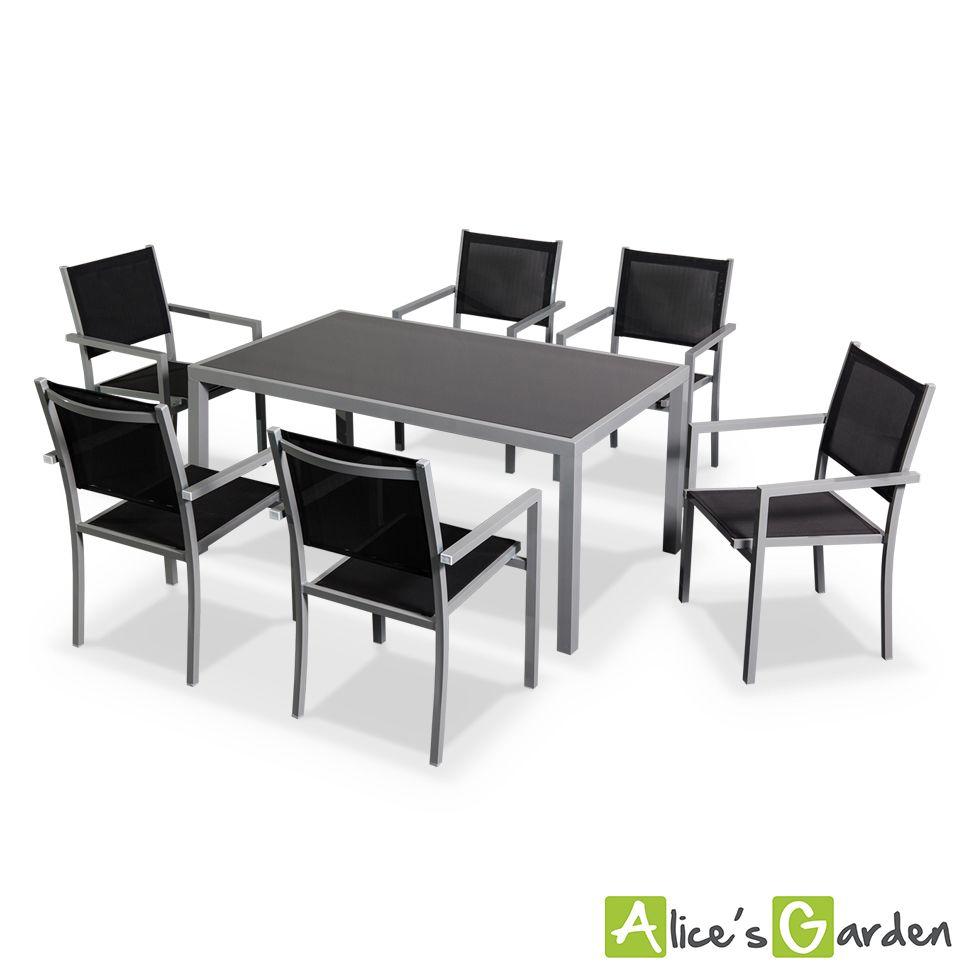 Capua : table 6 places, en aluminium et textilène http://www ...