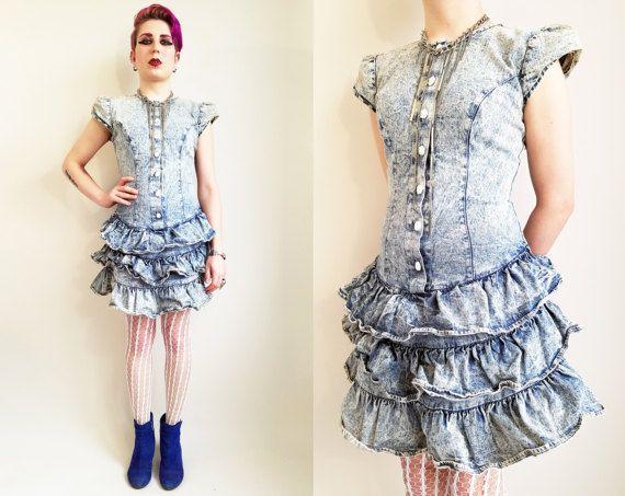 01b1893aa12 80s Dress Acid Wash Denim Dress 80s Clothing 80s by trashedbytime ...