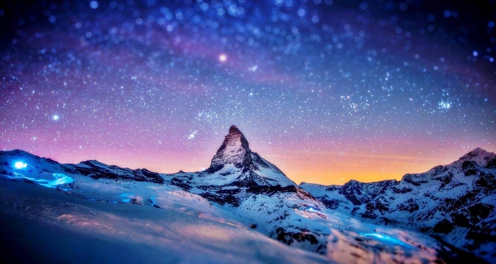 Snow Mountain Wallpaper Hd Snow Mountain In Night Mountain