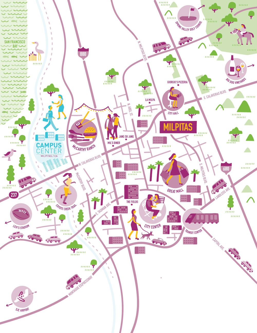 Illustrated map of Milpitas, California by Nate Padavick for Campus ...