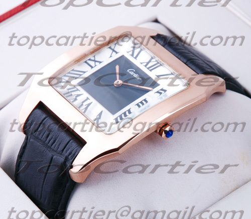 6f4992eac61e3 Cartier Santos Dumont 18K Rose Gold Black and Silver Dial Large Mens Watch