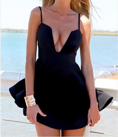 Cheap Sexy V Neck Spaghetti Strap Sleeveless Black A Line Mini Dress VC08