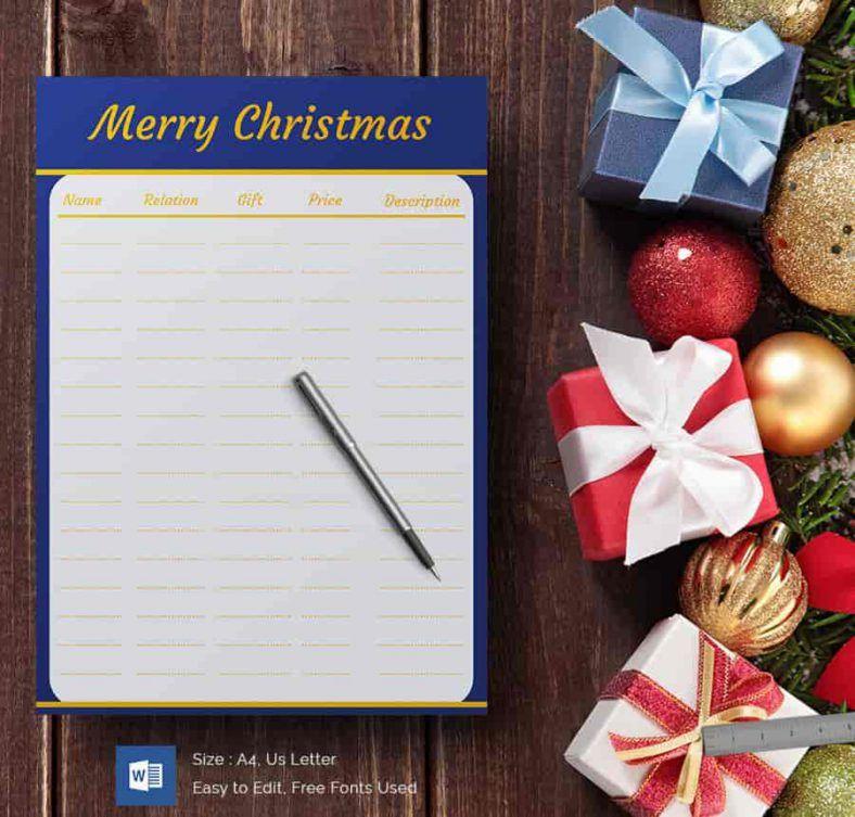 Merry Christmas Gift List Template 788x753 , 24+ Christmas Wish List ...