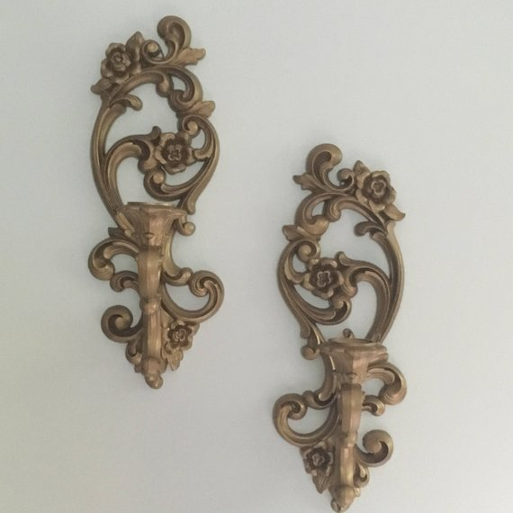 Vintage Ornate Gold Homco Candle Wall Sconces Shabby Chic Etsy Vintage Candle Sconces Candle Wall Sconces Wall Candles