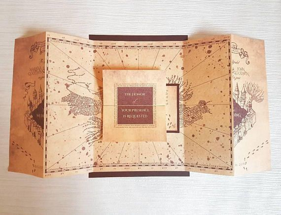 Harry Potter Marauders Map Inspired Wedding Invitation